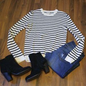 J. Crew Black & White Striped Waffle Knit Sweater